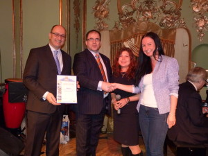 Mr. Joseph Galea, Director International Marketing MTA and Mr. Anthony J. Caruana, MTA representative in Moscow being presented with the award.