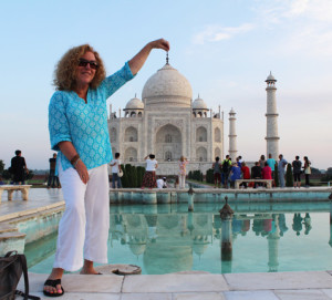 The author posing at the Taj Mahal. Credit: Gail Dubov